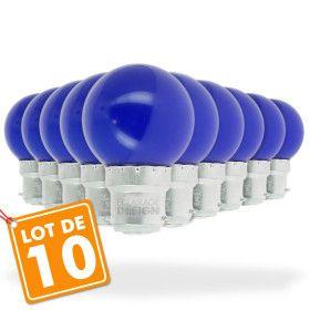 Lot de 10 Ampoules Led Bleu 1 watt (équivalent à 10 watt) Guirlande Guinguette