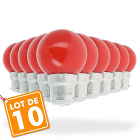 Lot de 10 Ampoules Led Rouge 1 watt (équivalent à 10 watt) Guirlande Guinguette