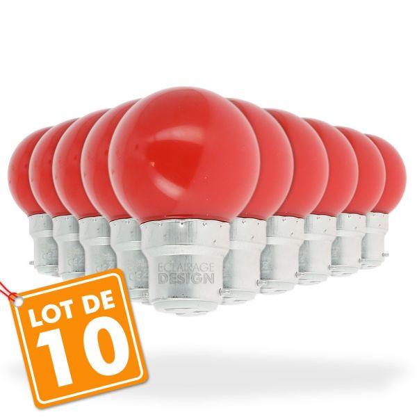 Lot de 10 Ampoules Led Rouge 1 watt (équivalent à 10 watt) Guirlande Guinguette