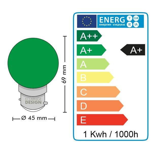 Lot de 10 Ampoules Led Vert 1 watt (équivalent à 10 watt) Guirlande Guinguette