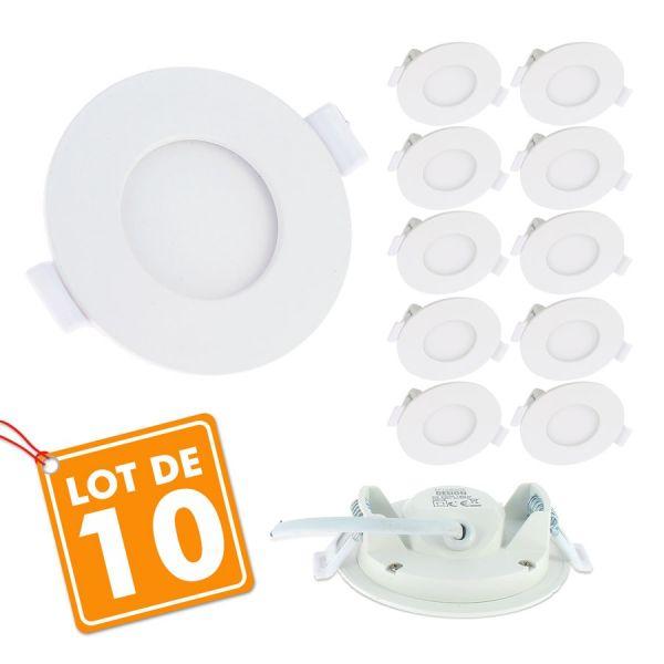 Lot de 10 Spots Encastrables LED Panel Extra-Plat 3W