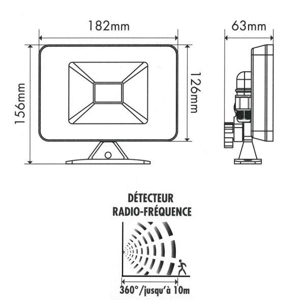 Projecteur LED 30W Blanc Détecteur de Mouvement Radio 4000K