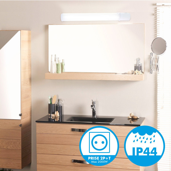 r glette applique salle de bain led 8w 900lm avec prise. Black Bedroom Furniture Sets. Home Design Ideas