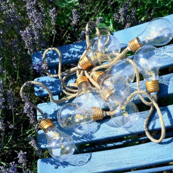 Guirlande fête 10 Ampoules sur corde chanvre à piles