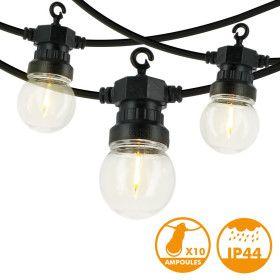 Guirlande guinguette 10 filament LED Blanc chaud 5 mètres
