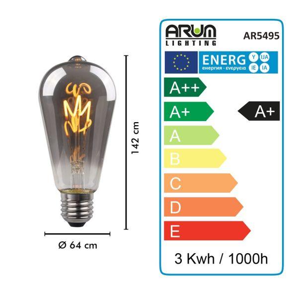 Ampoule LED E27 ST64 Smoky Filament DécoVintage 2,5W
