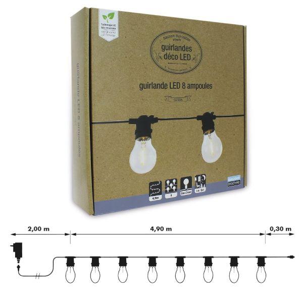 Guirlande LED extérieur 8 ampoules blanc chaud filament