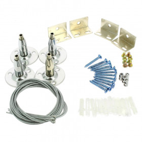 KIT SUSPENSION pour DALLES LED 4 câbles 1mètre + fixations
