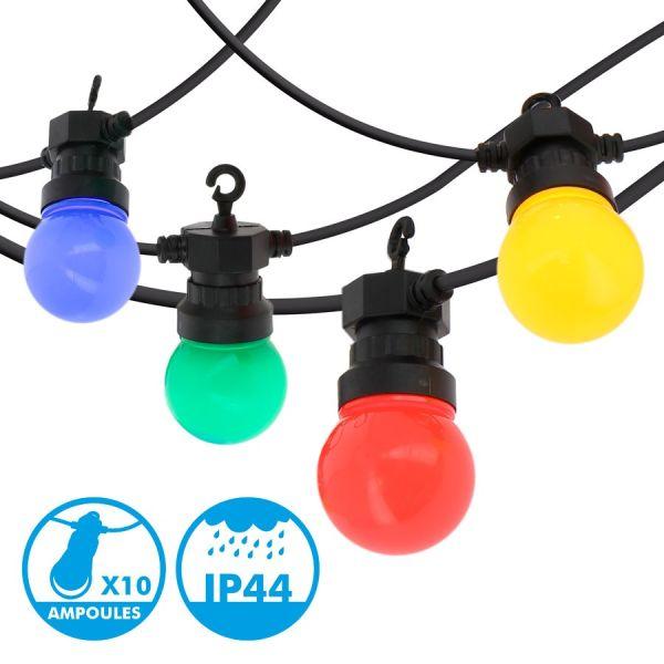 Guirlande guinguette 10 Ampoules multicolore