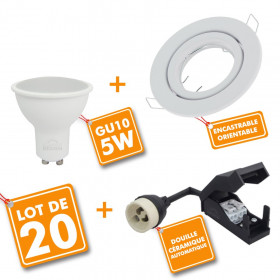Lot de 20 Spot encastrable orientable blanc Ø99 avec GU10 LED de 5W eq 40W