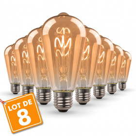 Lot de 8 Ampoules LED E27 ST64 Ambrée Filament Déco Vintage