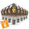 Lot de 8 Ampoules LED E27 ST64 Smoky Filament Déco Vintage