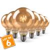 Lot de 6 Ampoules LED E27 G95 Ambrée Filament Déco Vintage