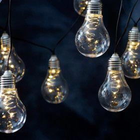 Guirlande de 10 ampoules LED Solaires Blanc Chaud