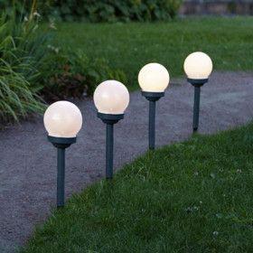 Lot de 4 Bornes Globes LED Solaire