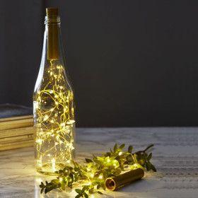 Guirlande déco bouteille laiton de 40 Micro LED à piles