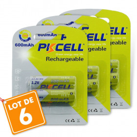 6 batteries piles solaire rechargeables LR6 AA - Ni-MH 600 mAh
