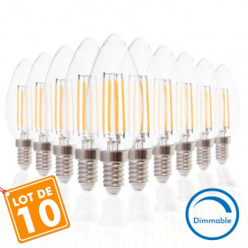 Lot de 10 Ampoules E14 4W COG Dimmable Blanc Chaud