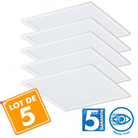 lot de 5 Dalles LED Pro 40W - 5ans 60x60cm