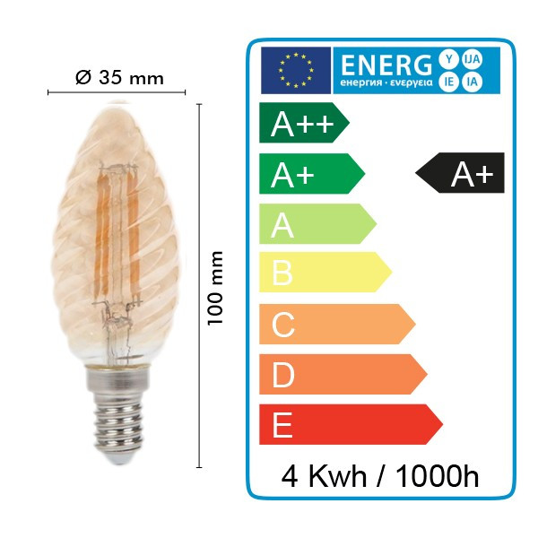 Lot de 10 Ampoules LED E14 4W Twist C37 Blanc chaud ambrée
