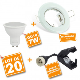 Lot de 20 Spot LED encastrable complet Blanc Fixe avec Ampoule GU10 7W
