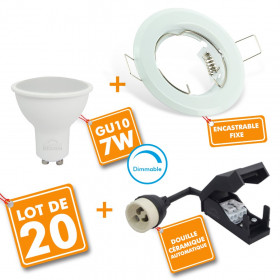 Lot de 20 Spot LED encastrable complet Blanc Fixe avec Ampoule GU10 7W Dimmable