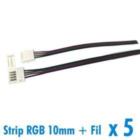 Lot de 5 connecteurs pour ruban 10mm RGB + 15cm de fil