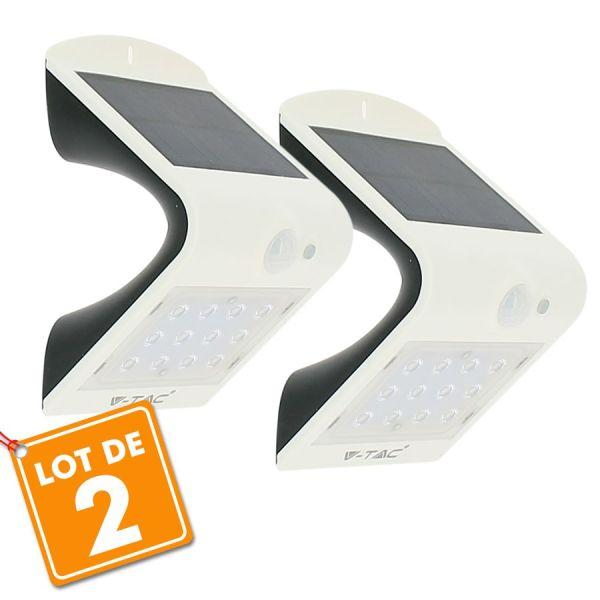 Lot de 2 Appliques solaires Blanches extérieur 1.5W Blanc naturel