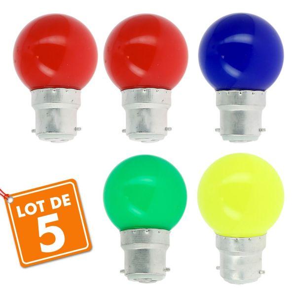 Lot de 5 Ampoules B22 Panaché Guirlande guinguette extérieur