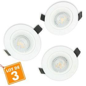 Lot de 3 Spot LED encastrable complet Blanc Fixe avec Ampoule GU10 5W