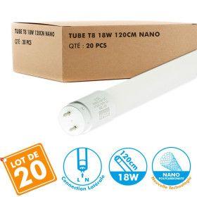 Lot de 20 Tubes T8 LED 120cm 20W connexion latérale