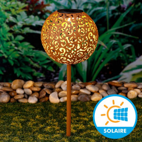 Boule Déco Solaire Metal Rouillé Diamètre 18 cm
