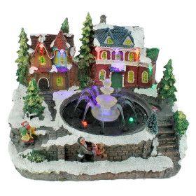 Village de Noël avec fontaine LED sur Secteur
