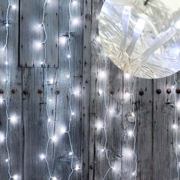Rideau guirlande lumineuse led 96 LEDS Blanc pur