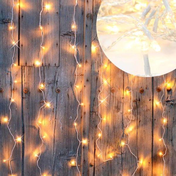 Rideau guirlande lumineuse led 96 LEDS Blanc Chaud
