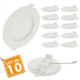 Lot de 10 Spot led downlight rond 12w slim