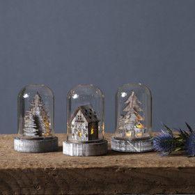 Lot de 3 décorations sous dome en verre noel
