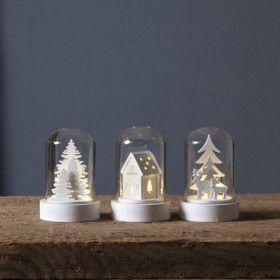 Lot de 3 décorations Noel blanche sous dome en verre