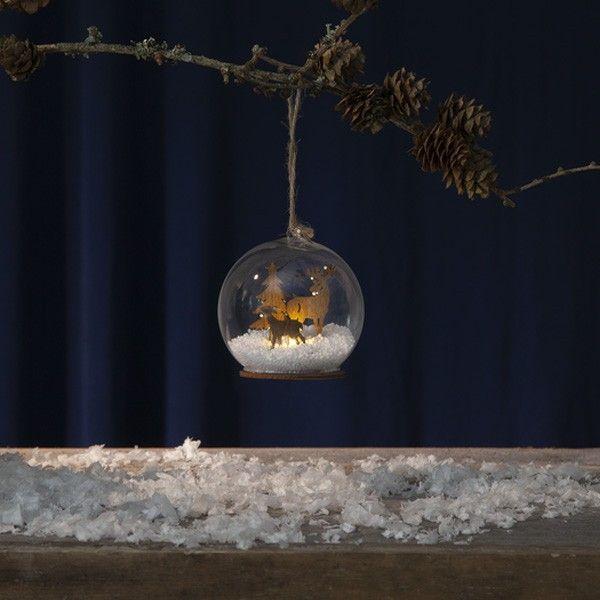 Boule de noel Lumineuse motif bois