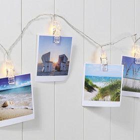 Guirlande LED blanc chaud pince pour photos sur piles