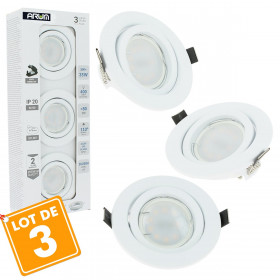 Lot de 3 Spot LED encastrable complet Blanc Orientable avec Ampoule GU10 5W