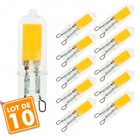 Lot de 10 Ampoules LED G9 COB 2W Equivalent 20W blanc chaud