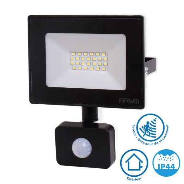 Projecteur LED 20W Noir détecteur de mouvement IP44 6000K