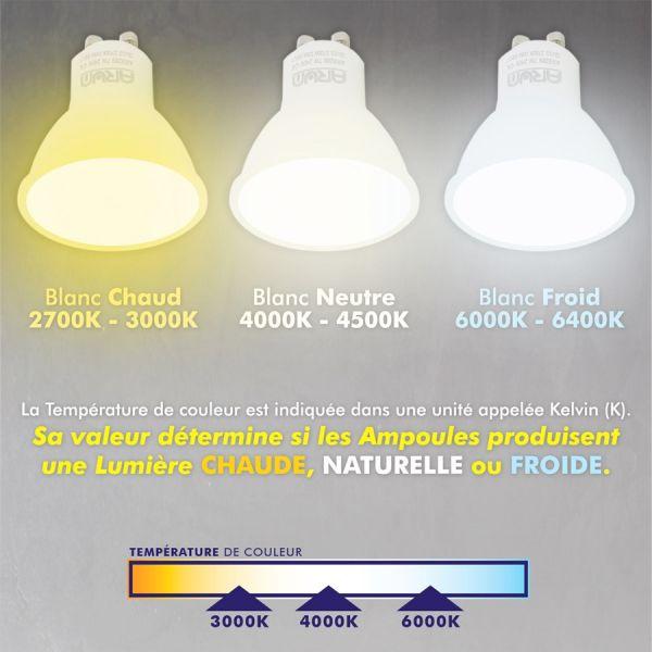 Lot de 10 ampoules LED GU10 7W eq 60W