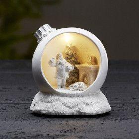 Boule de noel Lumineuse a poser motif Père Noël blanc