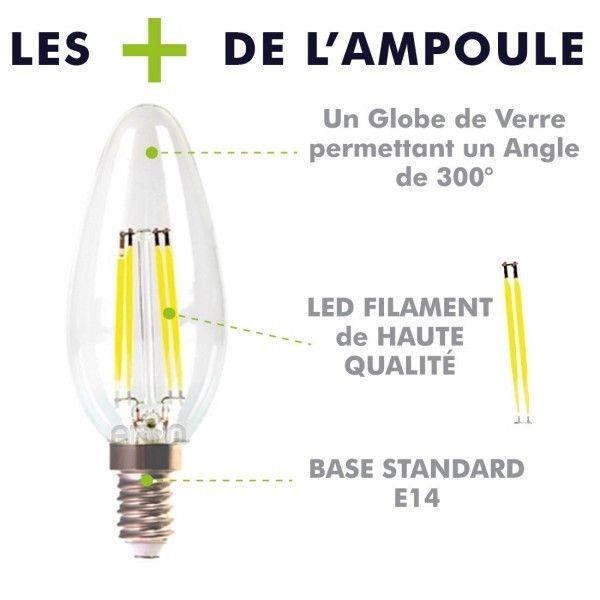 Ampoule LED E14 6W Eq 60W Filament