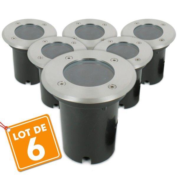Lot de 6 Spots Encastrable de sol INOX 304 GU10