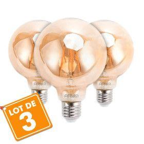 Lot de 3 Ampoules LED E27 G95 Ambrée Filament 6W