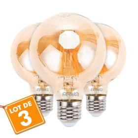 Lot de 3 Ampoules LED E27 G80 Ambrée Filament 6W