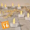 Lot de 16 Bougies LED Blanc Chaud à piles